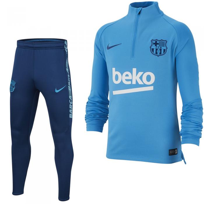 Nike FC Barcelona Squad Drill Trainingspak 2018-2019 Lichtblauw Kids