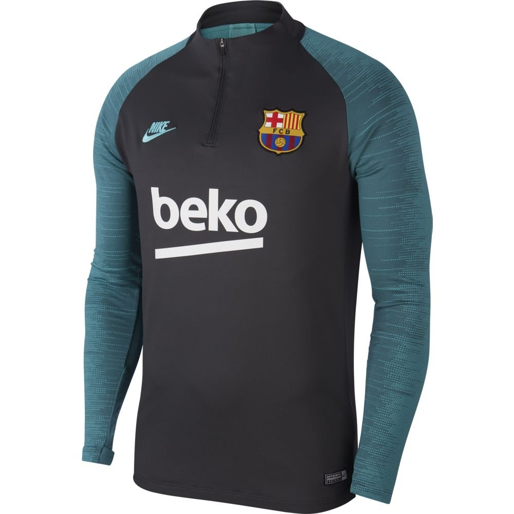 Nike FC Barcelona Dry Strike Trainingstrui 2019-2020 Antraciet Groen