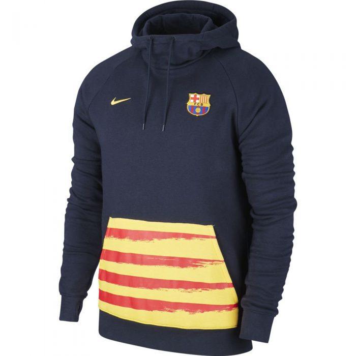 Nike FC Barcelona GFA Fleece Hoodie 2019-2020 Donkerblauw Geel Rood