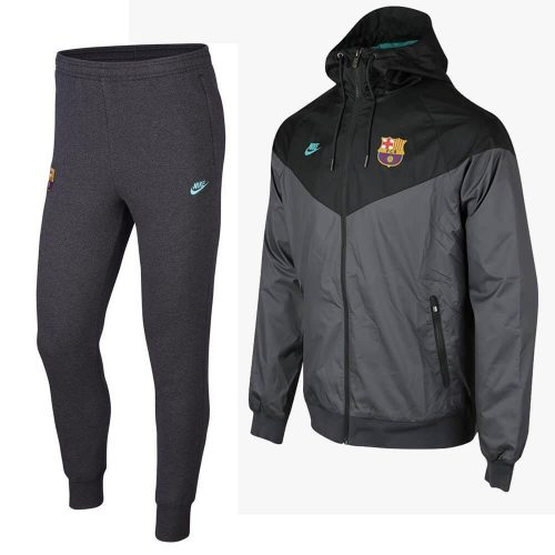Nike FC Barcelona Windrunner Fleece Trainingspak 2019-2020 Grijs