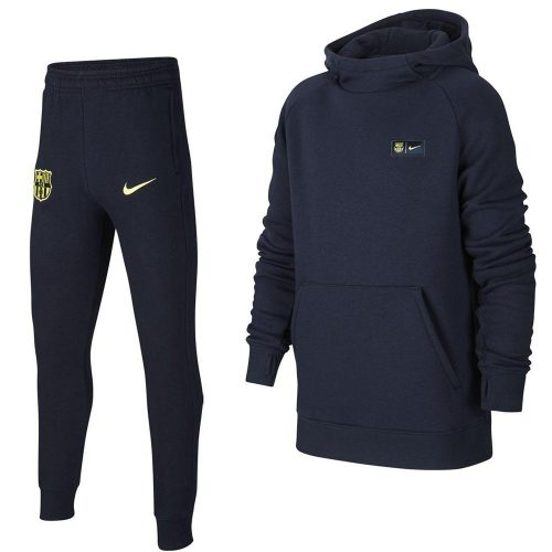 Nike FC Barcelona GFA Fleece Hoodie Trainingspak Kids Donkerblauw Geel