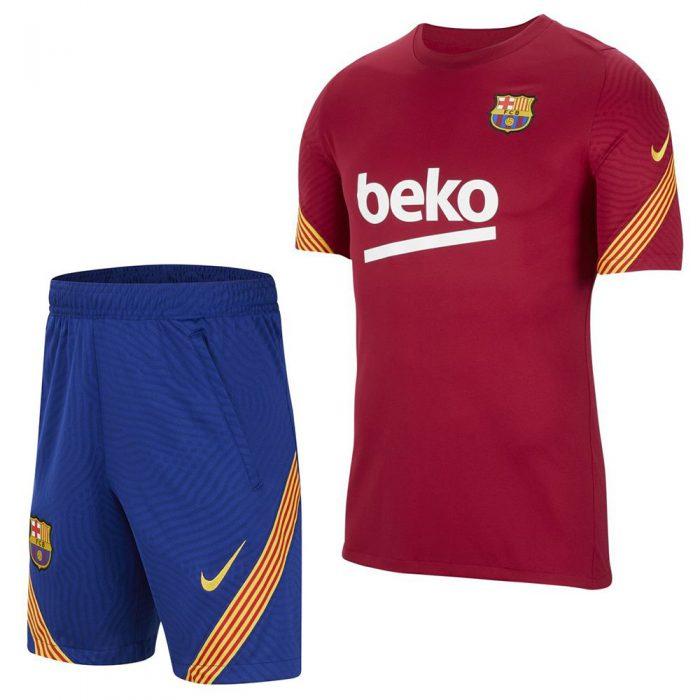 Nike FC Barcelona Dry Strike Trainingsset 2020-2021 Kids Rood Blauw