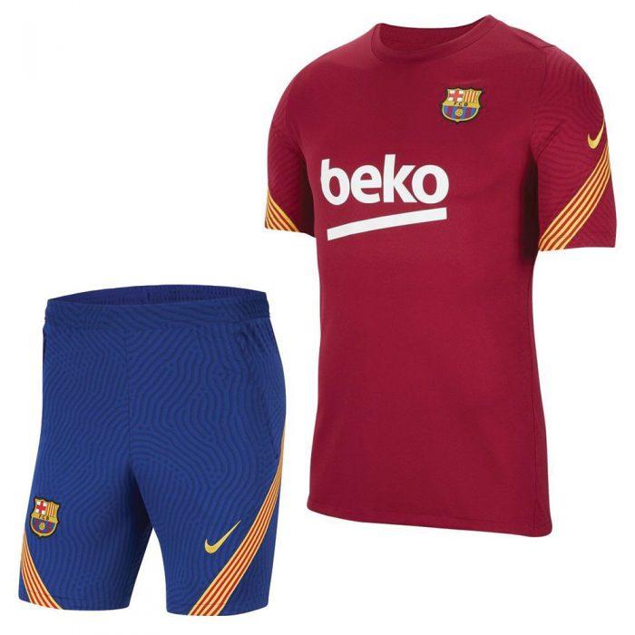 Nike FC Barcelona Dry Strike Trainingsset 2020-2021 Rood Blauw